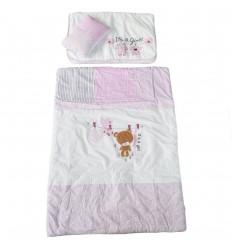 Set de cama para bebé por 3 blanco y rosa