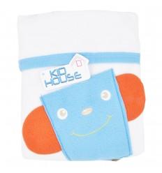 Cobertor lúdico con bolsillo-azul
