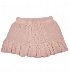 Falda tejida rosa