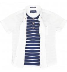 Camisa mayoral para niño-blanca azul