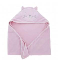 Toalla para bebé diseño de gato Rosa