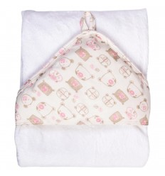 Toalla con capucha estampada para bebé-rosa