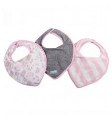Babero set x3 tipo pañoleta-rosa