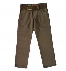 Pantalon en dril para niño- Cafe