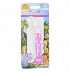Cuchara de silicona para bebé- Fucsia