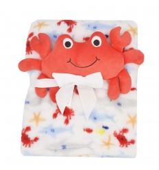 Cobertor con muñeco de apego- cangrejo