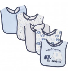 Set de 5 baberos para bebé Azul elefantes