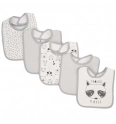 Set de 5 baberos para bebé- Grises zorrito