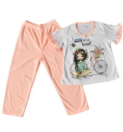 Pijama dos piezas para niña- salmon
