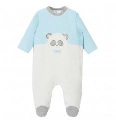 Pijama enteriza para bebé niño panda- Azul cielo