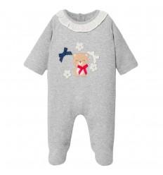 Pijama enteriza para bebé osita-Gris