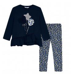 Conjunto leggings corazones niña-Azul marino