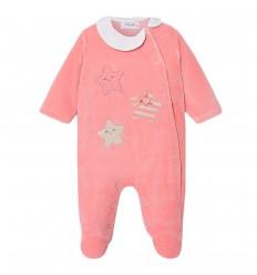 Pijama enteriza para bebé estrellas- guayaba