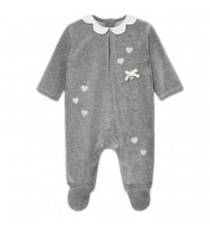Pijama para bebé velvetin corazones- Gris