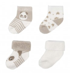 Set de 4 pares de medias para bebé- Crudo Beige