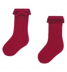 Medias hasta la rodilla en hilo- Carmín- Roja