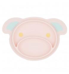 Plato para bebé con diseño antideslizante-Rosa