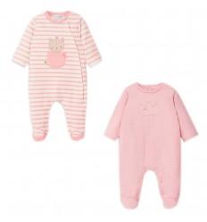 Set de dos pijamas para bebé niña- Rosa