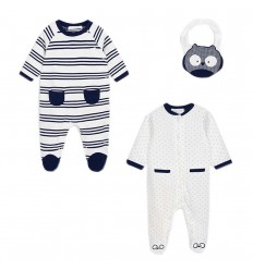Set dos pijamas y babero para bebé niño Azul