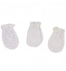 Set de 3 mitones para bebé recien nacida -Niña