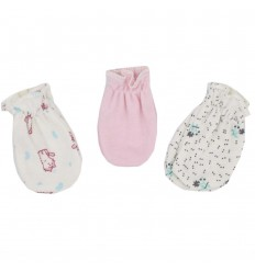 Set de 3 mitones para bebé recien naciada-Niña