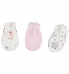Set de 3 mitones para bebé recien nacida- Niña