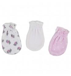 Set de 3 mitones para bebé recien nacida-Niña