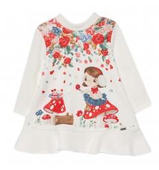 Vestido en flores muñeca- Blanco
