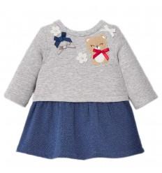 Vestido osa combinado bebé- Azul gris