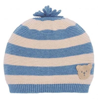 Gorro en hilo para bebé rayas-azul osito