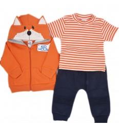 Conjunto 3 piezas para bebé- Naranja Zorrito