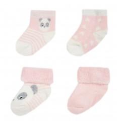Set de 4 pares de medias para bebé- Rosa