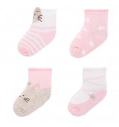 Set de 4 pares de medias para bebé- Blush rosa