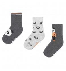 Set de 3 pares de medias-panda Gris
