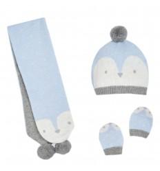 Set de gorro bufanda y mitones pinguino cielo