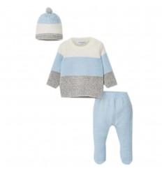 Conjunto 3 piezas para bebé- Azul cielo