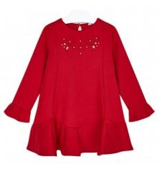 Vestido arandela para niña- Carmín