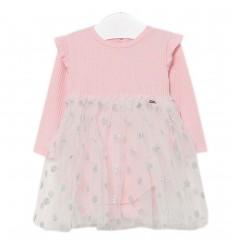 Vestido body tul para bebé- Rosa