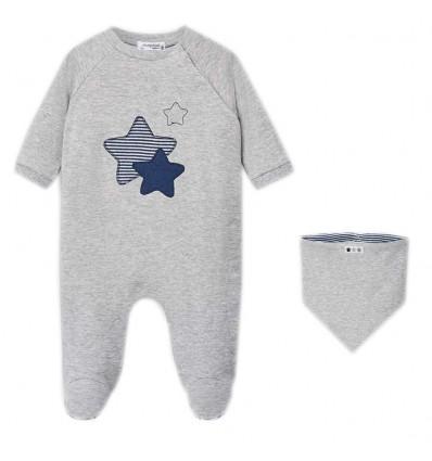 Set pijama con babero para bebé- Gris