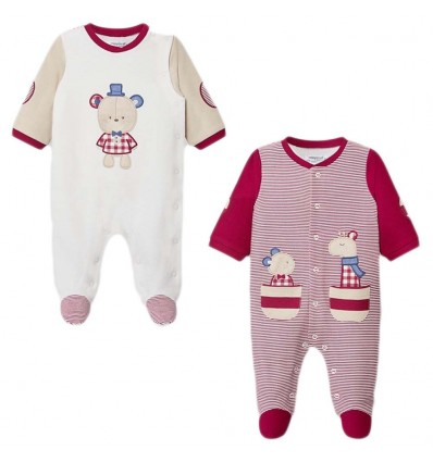 Set de 2 pijamas ositos para niño- Granate