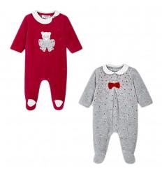 Set de 2 pijamas para bebé niña- Plomo