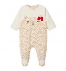 Pijama enteriza para niña- Animalito- Beige
