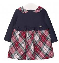 Vestido combinado para bebé- Marino