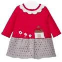 Vestido en hilo para bebé - Rojo Gris