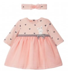 Vestido tutu para bebé con diadema-Rosa