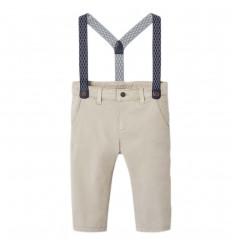 Pantalon en dril con tirantas- Piñon