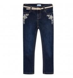 Jean bordado con cinturon para niña