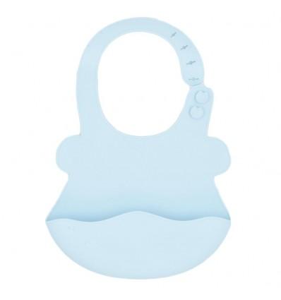 Babero en silicona para bebé- Azul