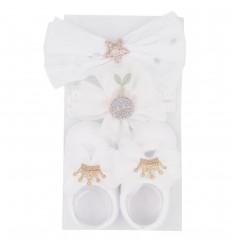 Set de medias y 2 diadema para bebé- Blanco