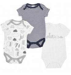 Set de 3 bodys para bebé niño- Animales gris